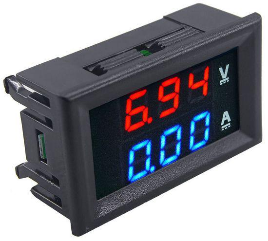 Цифровой амперметр-вольтметр DC постоянного тока 50А 100V панельный красный+синий