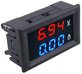 Цифровой амперметр-вольтметр DC постоянного тока 10А 100V панельный красный+синий