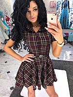 Платье - рубашка, юбка фасона каскад, пояс в комплекте Ткань: лён (принт цветочки) дпог№ 160-13