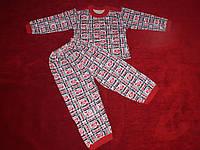 Детская пижама теплая рисунок сердечки love