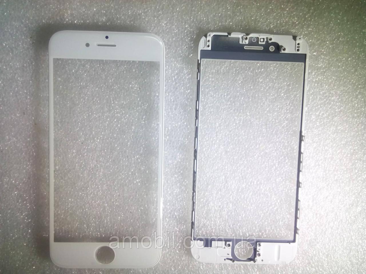 Стекло с дисплейной рамкой и OCA плёнкой для iPhone 6 белое orig качество