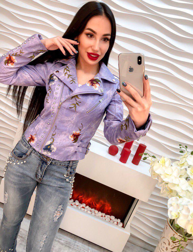 Куртка с вышивкой фиолетовая