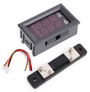 Цифровой амперметр-вольтметр DC постоянного тока 50А 100V панельный красный+синий, фото 2