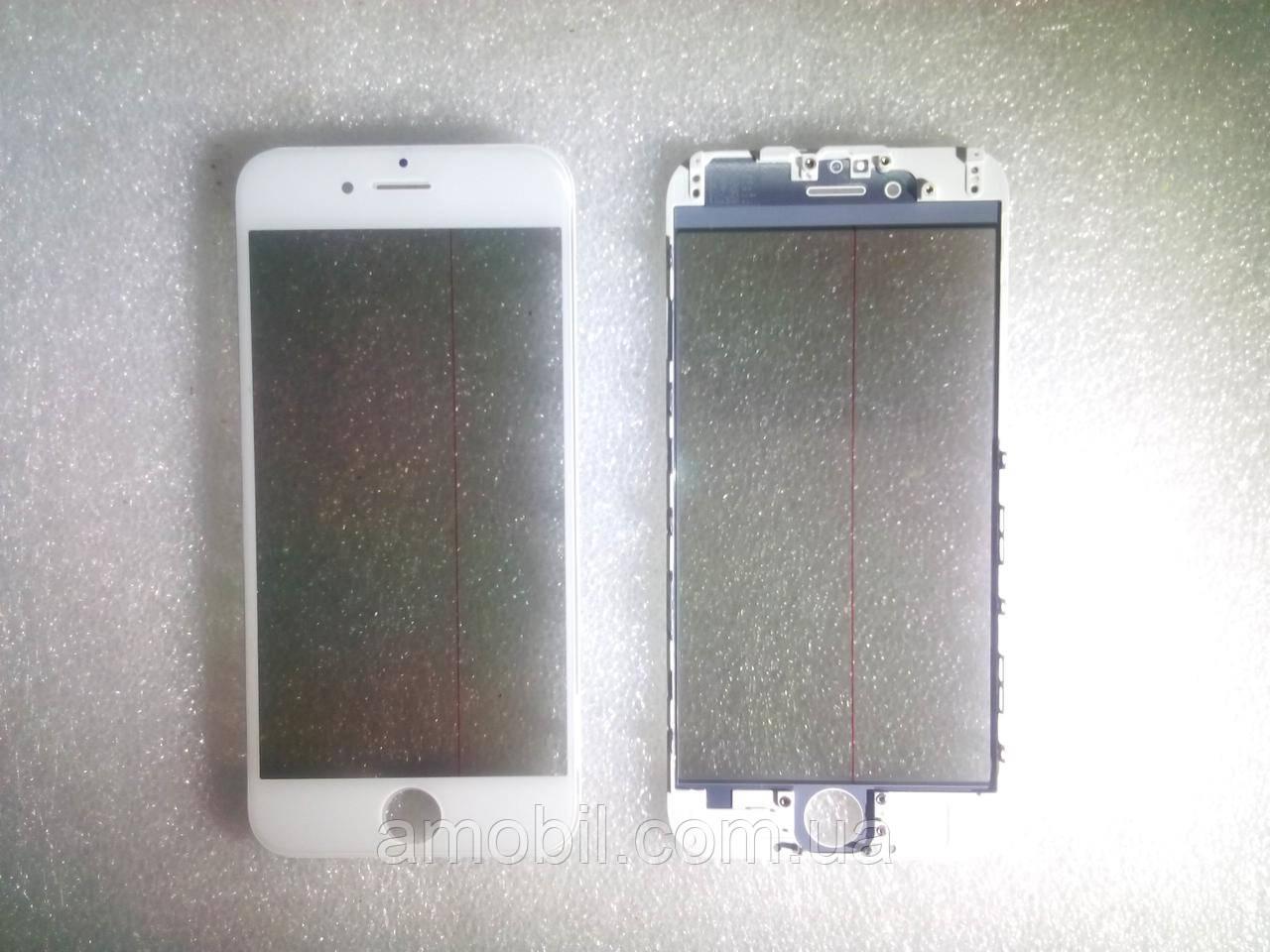 Стекло с дисплейной рамкой , OCA плёнкой и поляризационной плёнкой для iPhone 6 белое orig