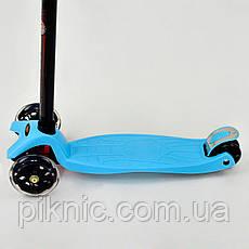 Самокат MAXI для мальчиков 3-6 лет, 4 колеса, свет, PU. Детский транспорт. Бирюза, фото 2