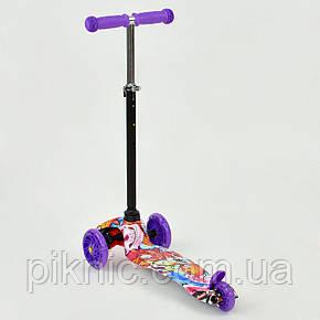 Самокат MINI для девочки 2-5 лет, 3 колеса свет, PU. Детский транспорт. Фиолетовый, фото 2