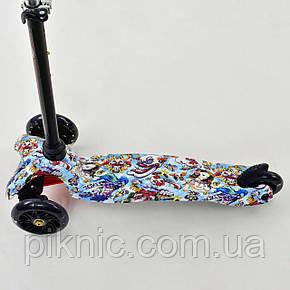 Самокат MINI для детей 2-5 лет, 3 колеса свет, PU, трубка руля алюминиевая. Детский, фото 2