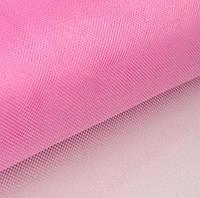 Фатин Розовый средней жесткости Тюль (сетка) металлик блеск 3 метра ширина