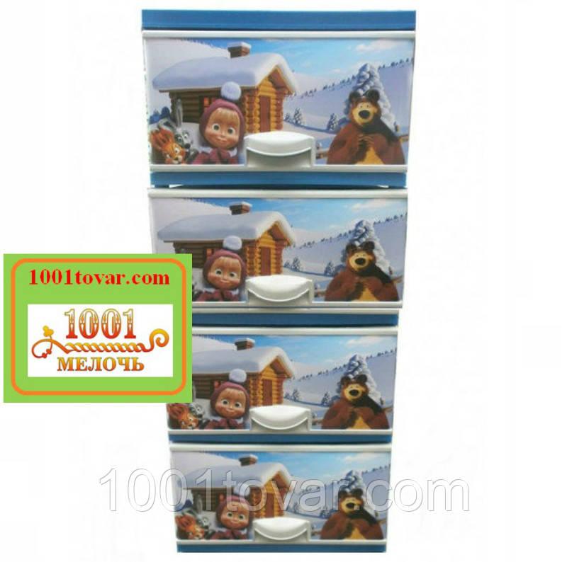 Комод пластиковый Еlif, с рисунком Маша и медведь зимой. Производство Турция.