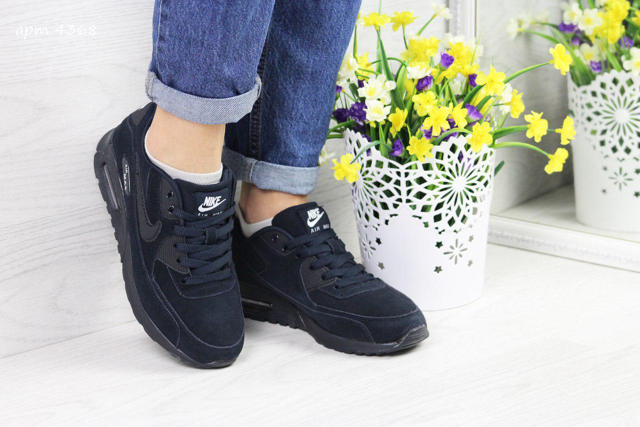 0c5a32b6cd52c6 Кроссовки женские Nike Air Max 90 темно синие - Интернет-магазин