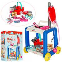 Детский игрушечный доктор 361 тележка 26,5-35-34,5см, стетоскоп, очки ,шприц, 22 предмета, в кор-ке, 44-31