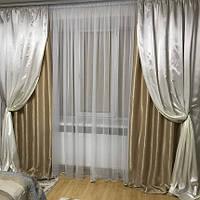 Комплект элегантных штор из софта декорированных атласом, фото 1