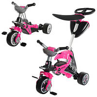Іграшка колісна велосипед Injusa 3282 триколісний, 2 в 1, рожевий, кошик, дах