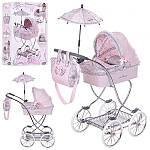 Детская коляска 80219  для куклы, классика, 90-45-80см , корзина, сумка,зонт, подушка,в кор-ке, 57-38-16см
