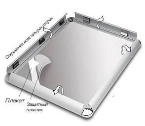 Рамка клик алюминиевые А3 Quick Change 25 профиль. Скруглённые углы., фото 2