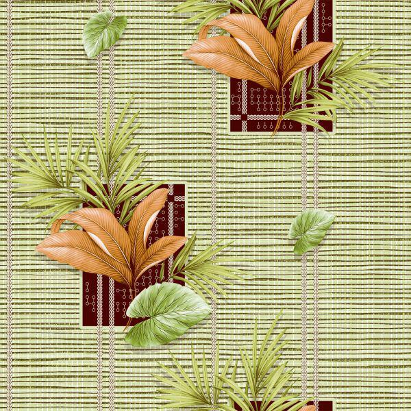Обои бумажные влагостойкие Тропики 2 зеленые 2012