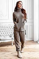 Теплый женский вязаный костюм с удлиненной кофтой 1410285