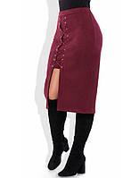 Уникальная замшевая юбка цвета марсала 1277