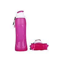 Складная спортивная бутылка 500мл розовая, фото 1