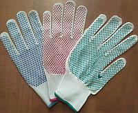 Перчатки НЕЙЛОН белые с цветной точкой. Размер 8. Пара. PRC /0-3