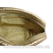 Косметичка женская золотистая стеганая La Prida 512095 18*10*6 см, фото 3
