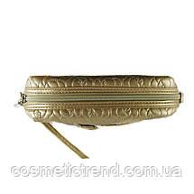 Косметичка женская золотистая стеганая La Prida 512095 18*10*6 см, фото 2