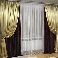 Комплект штор декорированных атласом, фото 1