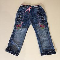 Тонкие джинсы цветочки на резинке р.4 года