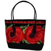 Стильная женская сумка с двумя ручками принт Алые маки Shopper