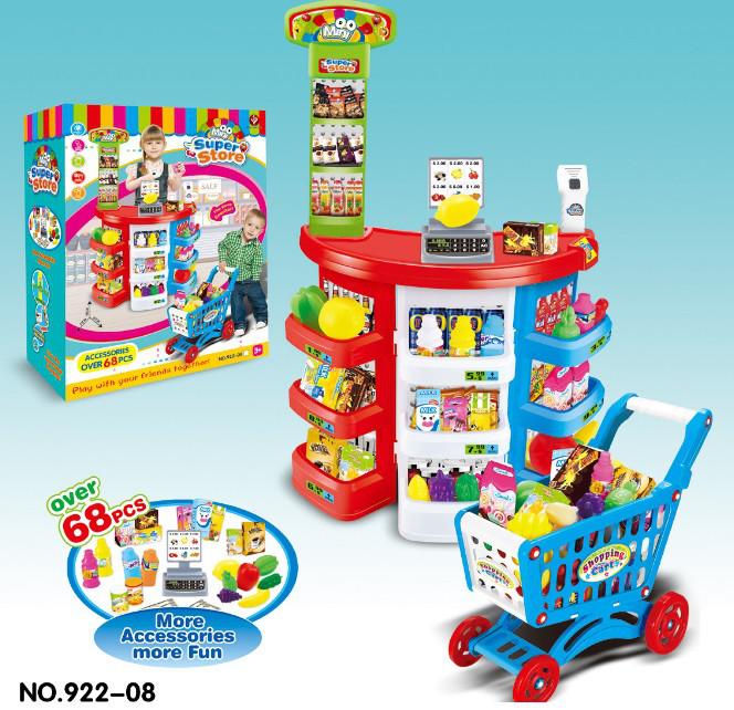 Игровой набор Магазин супермаркет 922-08 Касса с прилавком. 68 предметов. Звук. Свет. Продукты. Тележка