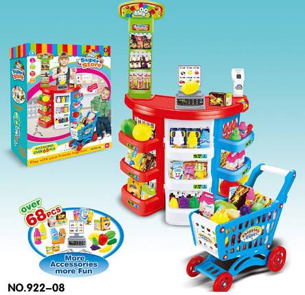 Игровой набор Магазин супермаркет 922-08 Касса с прилавком. 68 предметов. Звук. Свет. Продукты. Тележка, фото 2