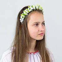 Белый обруч для волос с цветами