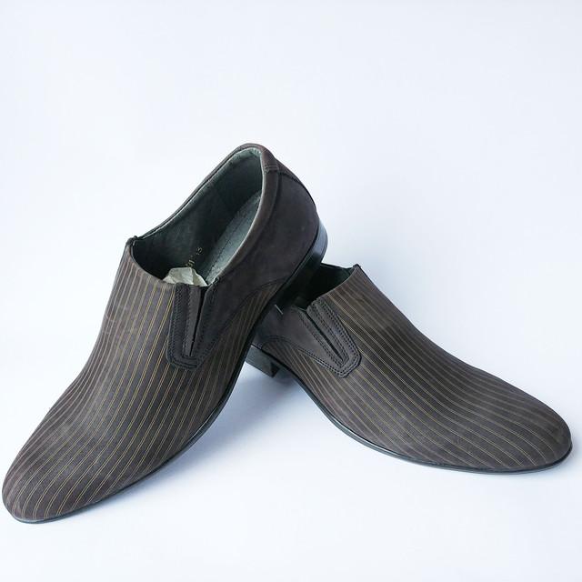 Мужская кожаная польская обувь в Украине классические замшевые туфли шоколадного цвета под ложку