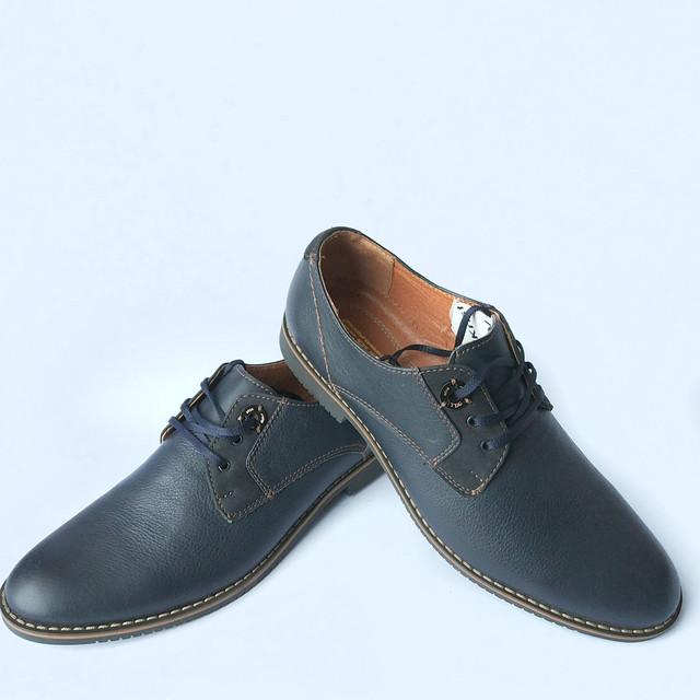 Обувь YDG мужские кожаные туфли синего цвета на шнуровке