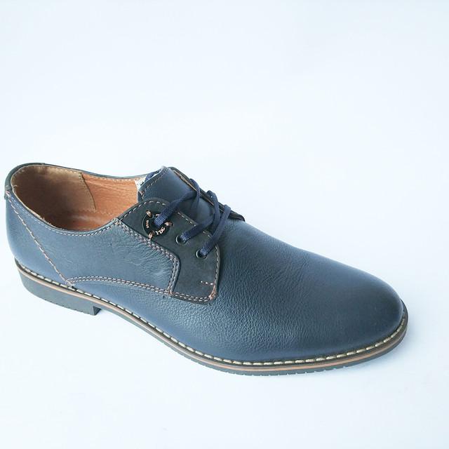 Обувь YDG мужские кожаные туфли на шнуровке синего цвета