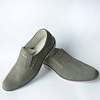 Мужские польские замшевые туфли серого цвета фабрики ''Mateos''