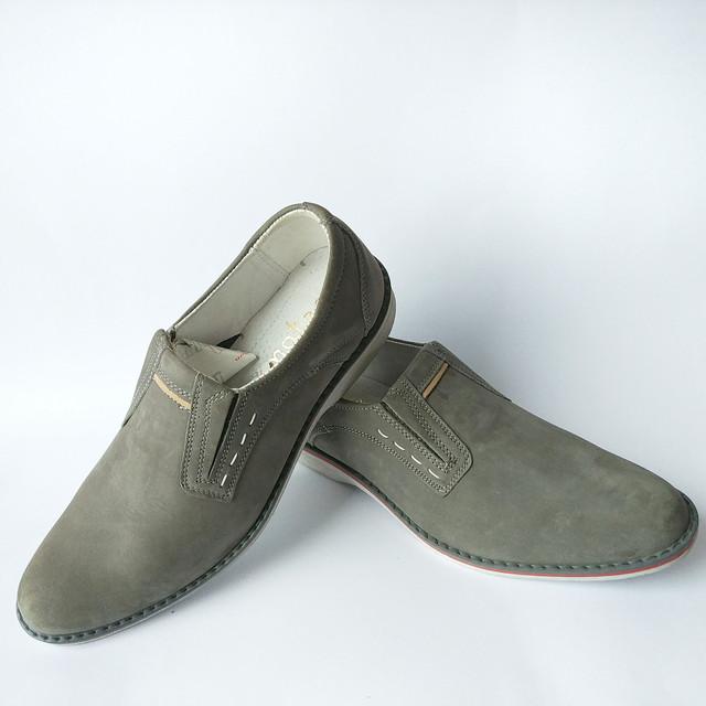 Кожаная польская обувь мужская серого цвета замшевая под ложку