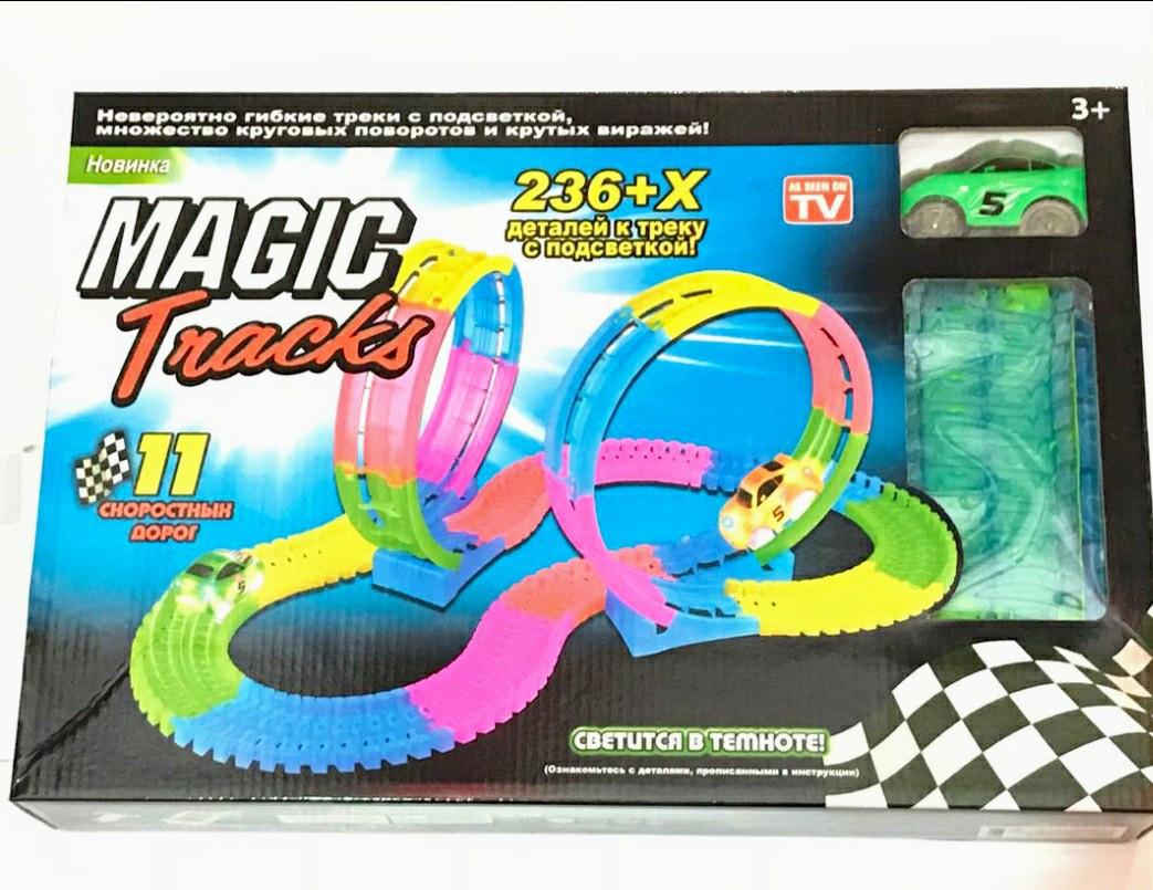 Світиться гоночний трек Magic Tracks 236 деталей з двома мертвими петлями