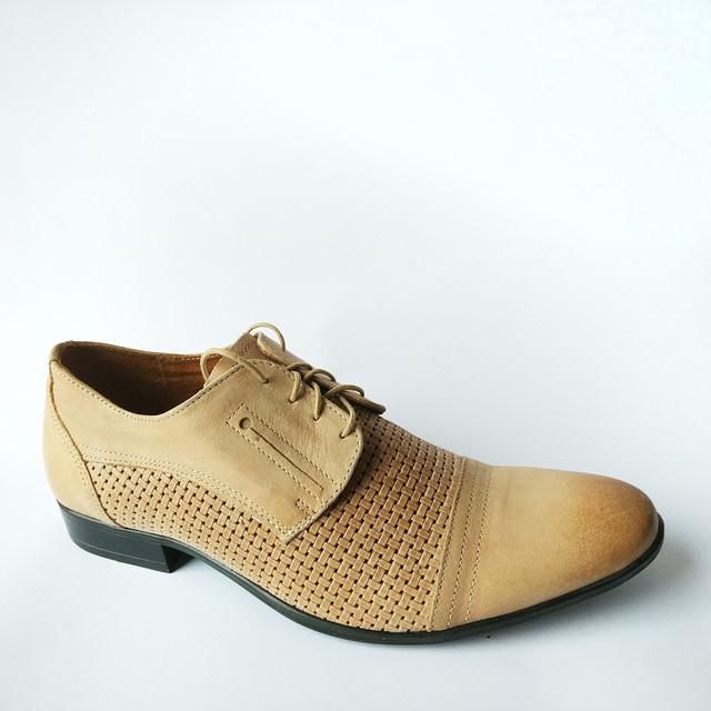 Мужская кожаная классическая польская обувь купить туфли на шнуровке песочного цвета фабрики Abis