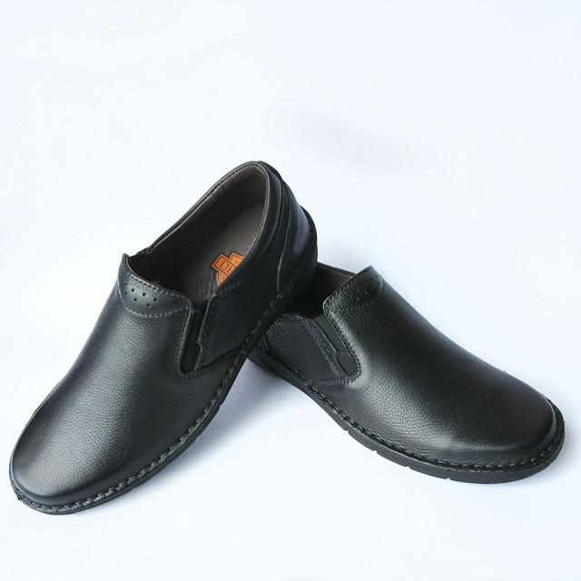Качественная мужская обувь Detta харьков : кожаные черные мокасины ортопедические под ложку