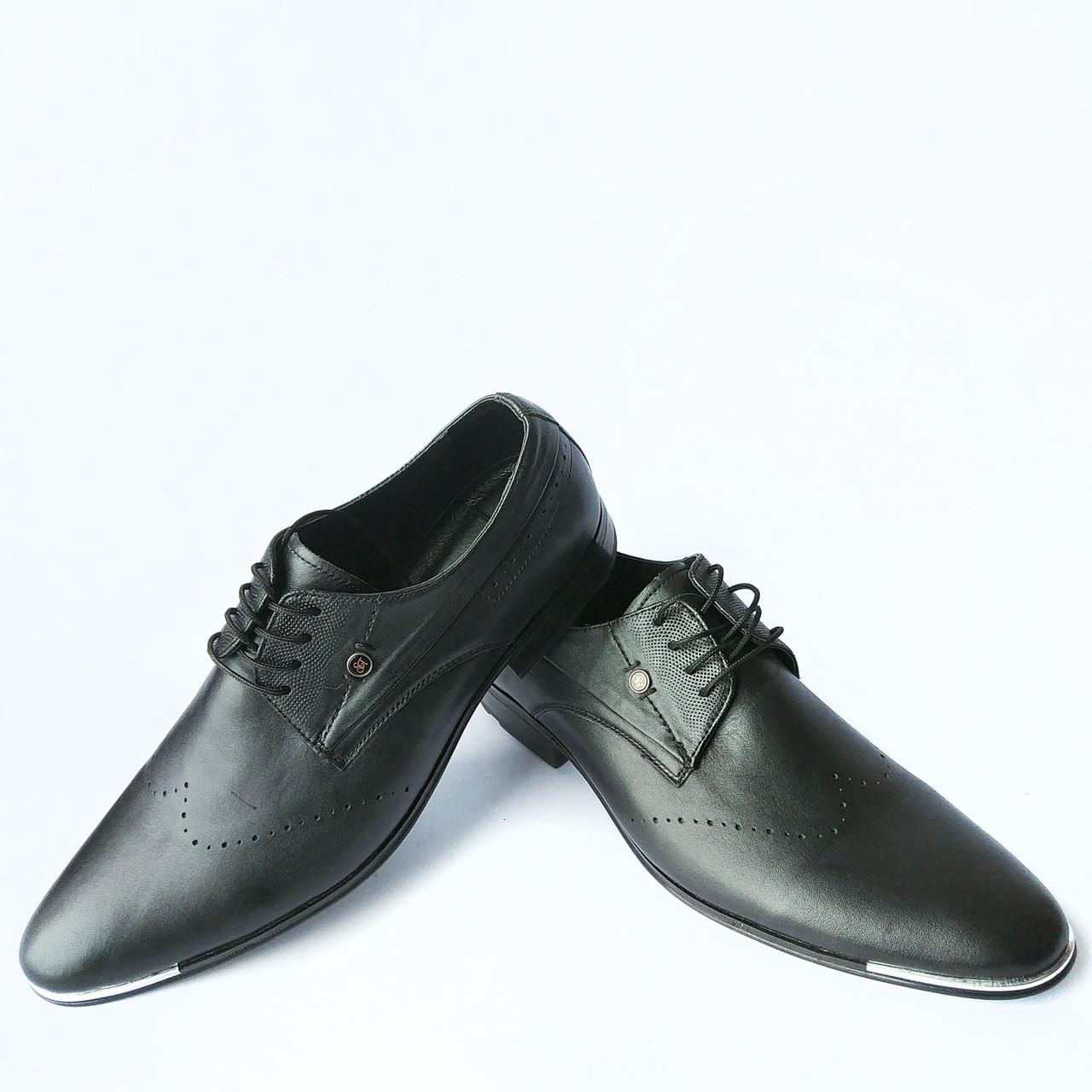 4fcf3a28 Харьковская мужская обувь : кожаные, классические, черные туфли с  перфорацией фабрики Slat - Интернет