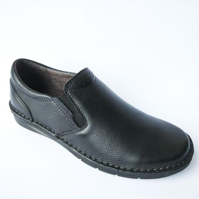 Качественная мужская обувь Detta харьков : кожаные черные мокасины под ложку ортопедические