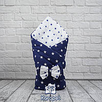 Конверт-одеяло двустороннее Звезды (синий) в роддом