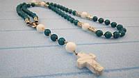 Розарий Бирюза, Перламутр, четки розарий из натурального камня, четки католические, розарий классический