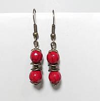 Серьги с Кораллом, натуральный камень, бронза, цвет красный, длина 4 см