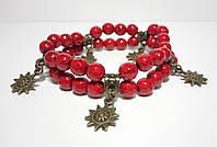Браслет Коралловый двойной, натуральный камень, цвет красный, бронза