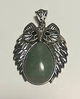 Кулон из Нефрит Сова большая, натуральный камень, подвеска, большой медальон (без цепочки)