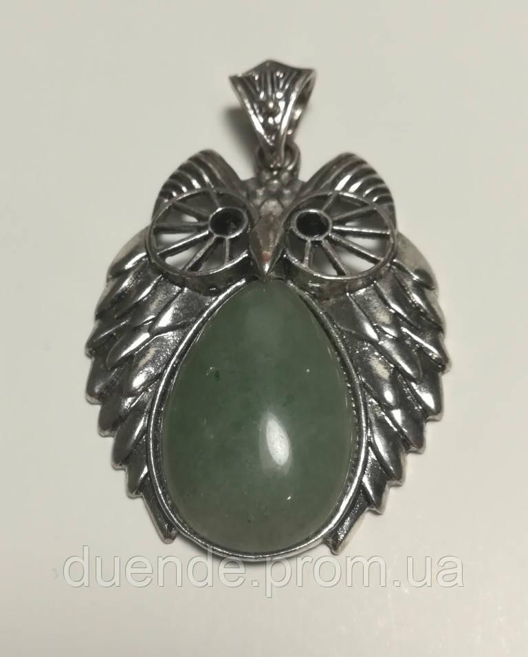 Кулон из Нефрит Сова большая, натуральный камень, подвеска, большой медальон (без цепочки) - Интернет-магазин «Duende» - товары для всей семьи в Днепропетровской области