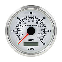 GPS-спидометр аналоговый Wema/Kus 0-60 узлов, белый, Ø 85 мм, CMSB-WS-60L