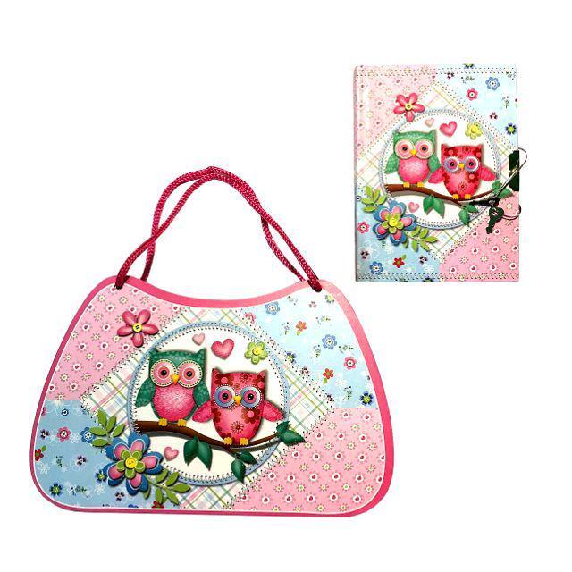 """Блокнот  детский """"Совки"""" на замочке в подарочной сумке (L640612)"""